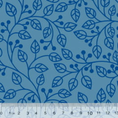 Tecido Tricoline Coleção Composê Ideal Azul Sereno - Ramos - 100% Algodão - Largura 1,50m