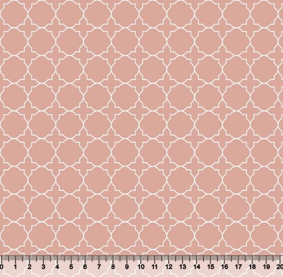 Tecido Tricoline Coleção Composê Ideal Mellow Rose - Mural - 100% Algodão - Largura 1,50m