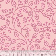 Tecido Tricoline Coleção Composê Ideal Rosa Baby - Ramos - 100% Algodão - Largura 1,50m
