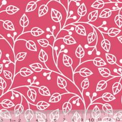 Tecido Tricoline Coleção Composê Ideal Rosa Pink - Ramos - 100% Algodão - Largura 1,50m