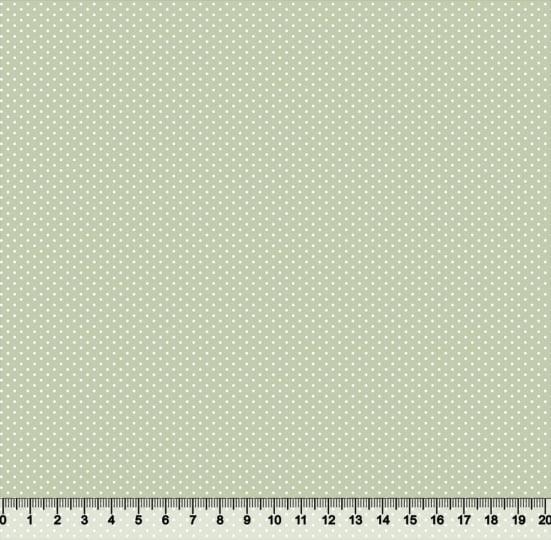 Tecido Tricoline Coleção Composê Ideal Smoke Green - Poazinho - 100% Algodão - Largura 1,50m