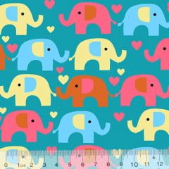Tecido Tricoline Coleção Elefantinhos Coloridos - Fundo Azul Piscina - 100% Algodão - Largura 1,50m
