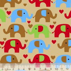 Tecido Tricoline Coleção Elefantinhos Coloridos - Fundo Bege - 100% Algodão - Largura 1,50m