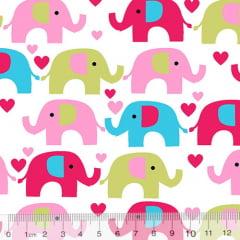 Tecido Tricoline Coleção Elefantinhos Coloridos - Fundo Branco - 100% Algodão - Largura 1,50m