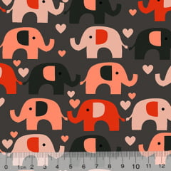 Tecido Tricoline Coleção Elefantinhos Coloridos - Fundo Chumbo - 100% Algodão - Largura 1,50m