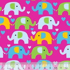 Tecido Tricoline Coleção Elefantinhos Coloridos - Fundo Rosa Pink - 100% Algodão - Largura 1,50m