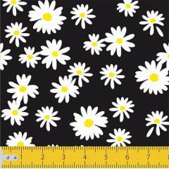 Tecido Tricoline Coleção Floral Flower White - Preto - 100% Algodão - Largura: 1,50m