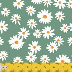Tecido Tricoline Coleção Floral Flower White - Verde Antigo - 100% Algodão - Largura: 1,50m