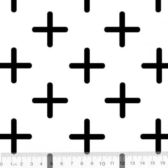 Tecido Tricoline Coleção Funny Black & White - Cruzetas - 100% Algodão - Largura 1,50m