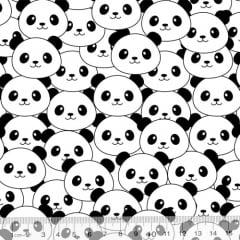 Tecido Tricoline Coleção Funny Black & White - Rostinhos de Panda - 100% Algodão - Largura 1,50m
