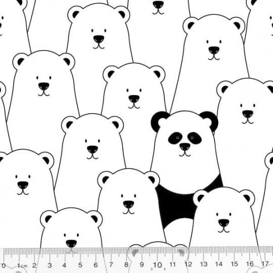 Tecido Tricoline Coleção Funny Black & White - Urso Polar - 100% Algodão - Largura 1,50m