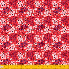 Tecido Tricoline Coleção Jardim Bahamas - Vermelho - 100% Algodão - Largura: 1,50m