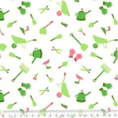 Tecido Tricoline Coleção Jardinagem - Jardineiro - Fundo Branco - 100% Algodão - Largura 1,50m