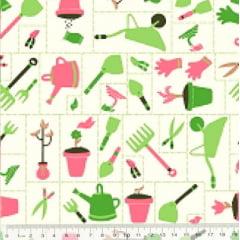 Tecido Tricoline Coleção Jardinagem - Mosaico - Fundo Branco - 100% Algodão - Largura 1,50m