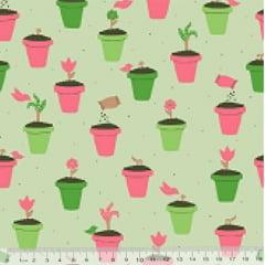 Tecido Tricoline Coleção Jardinagem - Vasos - Fundo Verde - 100% Algodão - Largura 1,50m