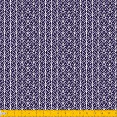 Tecido Tricoline Coleção Leaf - Azul Marinho - 100% Algodão - Largura: 1,50m