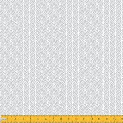 Tecido Tricoline Coleção Leaf - Cinza - 100% Algodão - Largura: 1,50m