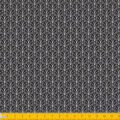Tecido Tricoline Coleção Leaf - Preto - 100% Algodão - Largura: 1,50m