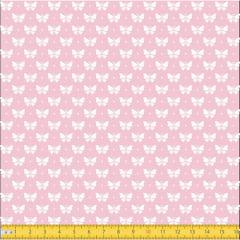 Tecido Tricoline Coleção Mini Borboletas - Rosa Claro - 100% Algodão - Largura: 1,50m