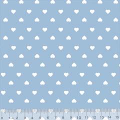 Tecido Tricoline Coleção Mini Corações - Azul Claro - 100% Algodão - Largura 1,50m