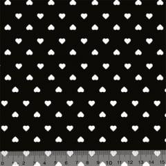 Tecido Tricoline Coleção Mini Corações - Preto - 100% Algodão - Largura 1,50m