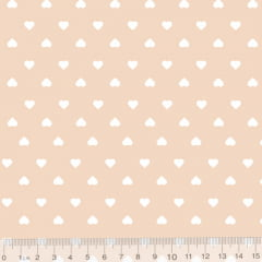 Tecido Tricoline Coleção Mini Corações - Rosa Nude - 100% Algodão - Largura 1,50m