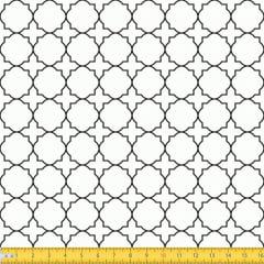 Tecido Tricoline Coleção Mural - Branco c/ Preto - 100% Algodão - Largura: 1,50m