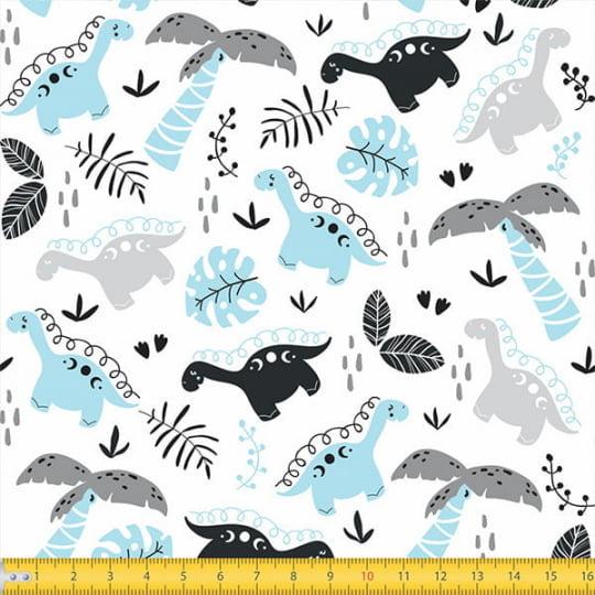 Tecido Tricoline Coleção Teepee Kids - Dinossauros e Folhas - 100% Algodão - Largura 1,50m