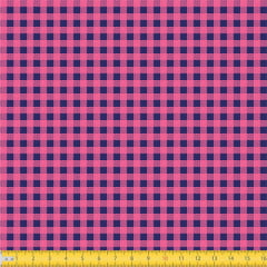 Tecido Tricoline Coleção Xadrez Chess - Azul Marinho c/ Rosa - 100% Algodão - Largura: 1,50m