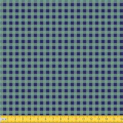 Tecido Tricoline Coleção Xadrez Chess - Azul Marinho c/ Verde - 100% Algodão - Largura: 1,50m