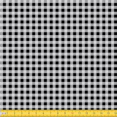 Tecido Tricoline Coleção Xadrez Chess - Preto - 100% Algodão - Largura: 1,50m