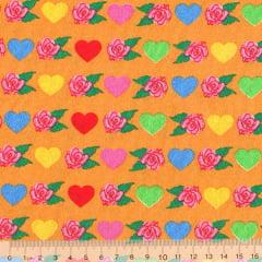 Tecido Tricoline Corações Coloridos e Rosas - Fundo Mostarda