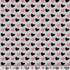 Tecido Tricoline Corações Rosas e Pretos - Fundo Listrado Cinza - 100% Algodão - Largura 1,50m