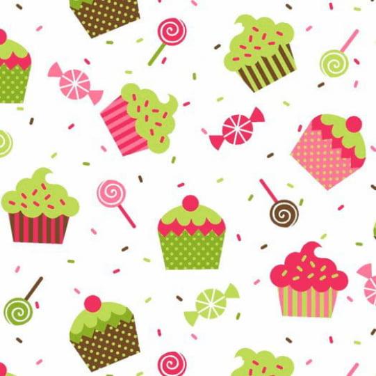 Tecido Tricoline Cupcake Doces e Granulado - Fundo Branco - 100% Algodão - Largura: 1,50m