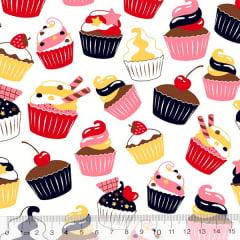 Tecido Tricoline Cupcakes Delícia - Branco - 100% Algodão - Largura 1,50m