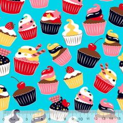 Tecido Tricoline Cupcakes Delícia - Azul Claro - 100% Algodão - Largura 1,50m