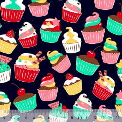 Tecido Tricoline Cupcakes Delícia - Azul Marinho - 100% Algodão - Largura 1,50m