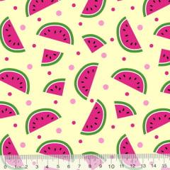 Tecido Tricoline Des. Frutas Melancias - Bege - 100% Algodão - Largura 1,50m