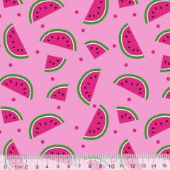 Tecido Tricoline Des. Frutas Melancias - Rosa - 100% Algodão - Largura 1,50m