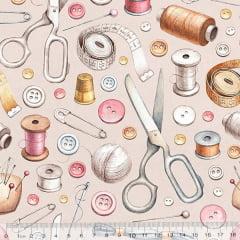 Tecido Tricoline Digital Acessórios de Costura - 100% Algodão - Largura 1,50m