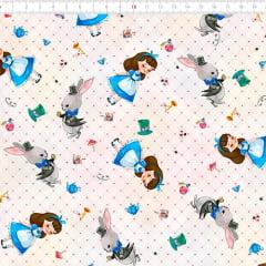 Tecido Tricoline Digital Alice Wonderland - 100% Algodão - Largura 1,50m