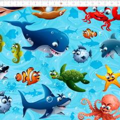 Tecido Tricoline Digital Amigos do Oceano - 100% Algodão - Largura 1,50m
