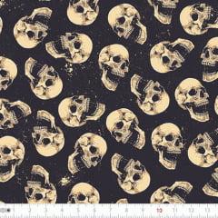 Tecido Tricoline Digital Caveira - Dark Skull - 100% Algodão - Largura 1,50m
