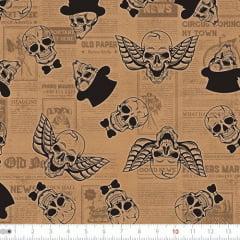 Tecido Tricoline Digital Caveira - Old Paper - 100% Algodão - Largura 1,50m