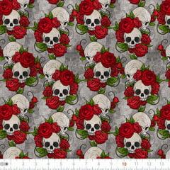 Tecido Tricoline Digital Caveira - Roses - 100% Algodão - Largura 1,50m