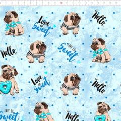 Tecido Tricoline Digital Dog Love Sweet - Azul - 100% Algodão - Largura 1,50m