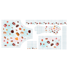 Tecido Tricoline Digital Kit Cozinha Avental - Doces - 100% Algodão - 10 peças