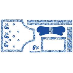 Tecido Tricoline Digital Kit Cozinha Avental - Ladrilhos - 100% Algodão - 10 peças