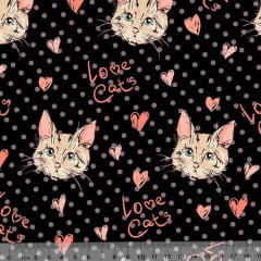 Tecido Tricoline Digital Love Cats - 100% Algodão - Largura 1,50m