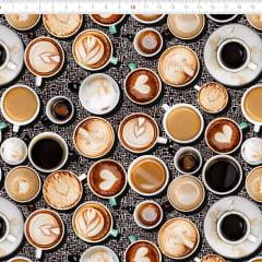 Tecido Tricoline Digital Xícaras de Café - 100% Algodão - Largura 1,50m